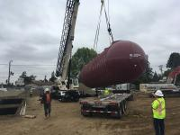 <p>Xerxes double wall fiberglass underground storage tank being installed for Shell station in San Jose, CA.</p>