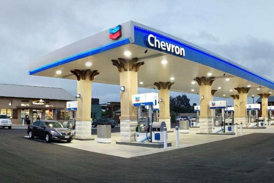 California chevron station with Wayne Ovation Dispensers