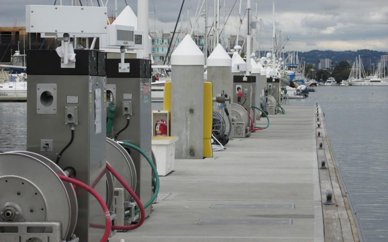 marine fueling center on pier